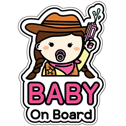 GEEKBEAR Baby on Board Sticker and Decal (Cowgirl, 1 Pack) - Baby Bumper Car Sticker - Baby Window Car Sticker - Baby in Car Sticker - Cute Safety Caution Decal Sign for Cars