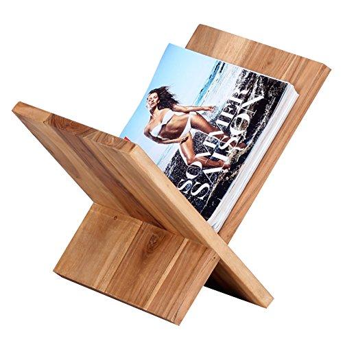 FineBuy Zeitungsständer Massivholz Akazie X-Form 31 cm Zeitschriften-Ständer Design Prospekt-Halter Landhaus-Stil Holz-Regal Natur-Produkt Wohnzimmer-Regal Buch-Ablage Echtholz Ablagefach Unikat