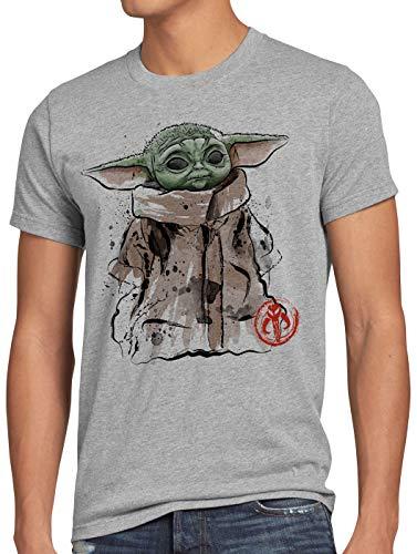 A.N.T. Dagobah Baby Herren T-Shirt yoda Mando tv Serie, Größe:M, Farbe:Grau meliert