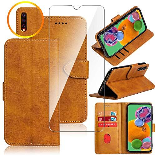 HYMY Hülle für Wiko View 3 Lite + Schutzfolie - Einfach Stil PU Leder Lederhülle Flip mit Brieftasche Geldbörse Card Slot Handyhülle Cover Wiko View 3 Lite-Yellow