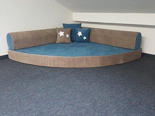Kuschelecke Viertelkreis 140x140cm, inklusive Kissen, Farbe blau-türkis, Made in Germany!