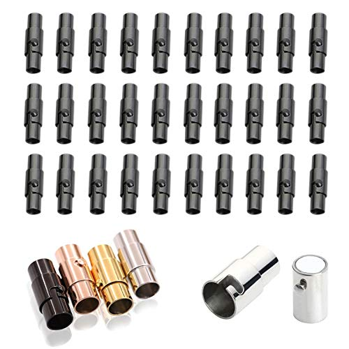 ECANGO 30 PCS Leather Cord End Caps for Jewelry Making, Magnetic Bracelet End Clasps and Fasteners for Necklace Jewellery Finding (Black, 3mm)