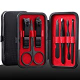 Manicure Kit Nail Clippers Set Stainless Steel Professional Pedicure Black 7 in 1 Grooming Kit Nail Scissors Cutter Ear Pick Tweezers Scissors Eyebrow Nail file for Man&Women gift (Red_7in1)