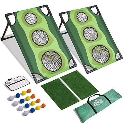 Vulcano Sports Par-1 Golf Cornhole Game, Outdoor Tailgating and Backyard Play for Golfers, Chipping Challenges, Practice and Custom Gaming for Friends or Teams