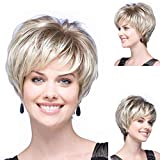GNIMEGIL Blonde Hair Trendy Short Wigs for Women Natural Synthetic Hair Full Wigs with Bangs (Wig Head Circumference Size is 20-24 inches)