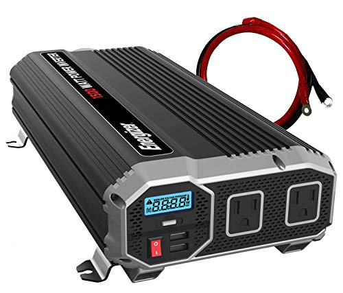 Energizer 1500 Watts Power Inverter 12V to 110V, Dual 110 Volt AC Outlets, Modified Sine Wave Car Inverter, DC to AC Converter with Battery Cables Included - MET Approved to UL and CSA Standards
