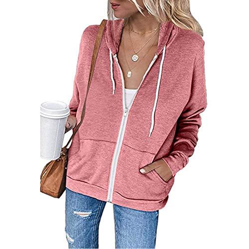 YEBIRAL Damen Sweatjacke Zip Hoodie Kapuzenjacke Langarm Pullover Oberteile Kapuzenpullover Mode Casual Sweatshirt Jacke mit Kapuze Taschen(XXL,Rosa)