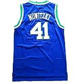 XZDM Dallas Lone Ranger Dirk Nowitzki (Dallas Lone Ranger Dirk Nowitzki) # 41 Uniforme de Baloncesto, Ventilador Camiseta Transpirable y de Sudor, Regalo para Hombre Blue-L