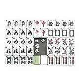 LMEIL Juego De Mahjong, Juego De Mahjong Chino Profesional - con 144 Fichas De Tamaño Mediano, 3 Dados Y Un Indicador De Viento - para Juegos De Estilo Chino