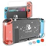 HEYSTOP Carcasa Nintendo Switch, Funda Nintendo Switch con Protector de Pantalla para Nintendo Switch Console y Joy Cons con 4 Agarres para el Pulgar, Nueva Actualización 2021 Clear Glitter Edition
