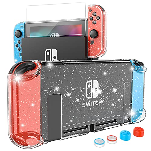 HEYSTOP Case Compatible with Nintendo Switch Dockable, Protective PC Cover Compatible with Nintendo Switch and Joy Con Controller with a Switch Screen Protector and 4 Thumb Stick Caps (Clear Glitter)