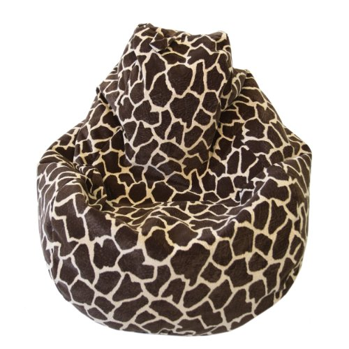 Large Animal Print Micro Suede Bean Bag Color-Size - Large - Giraffe