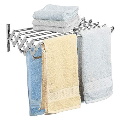 Ogrmar Stainless Steel Space-Saving Towel Rack Wall Mounted Retractable Huge Capacity Drying Rack for Hanging Towels