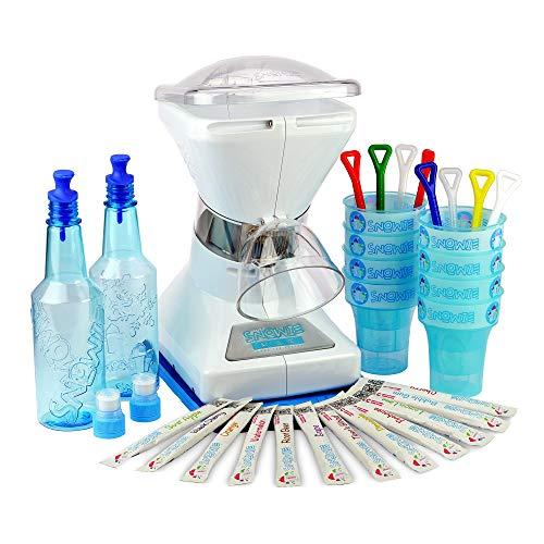 Little Snowie Max Snow Cone Machine  Premium Shaved Ice Maker With Powder Sticks Syrup Mix Premium Kit