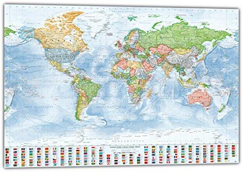 J.Bauer Karten XXL Mapamundi político Gigante, 220x144 cm, en Inglés, edición de 2019