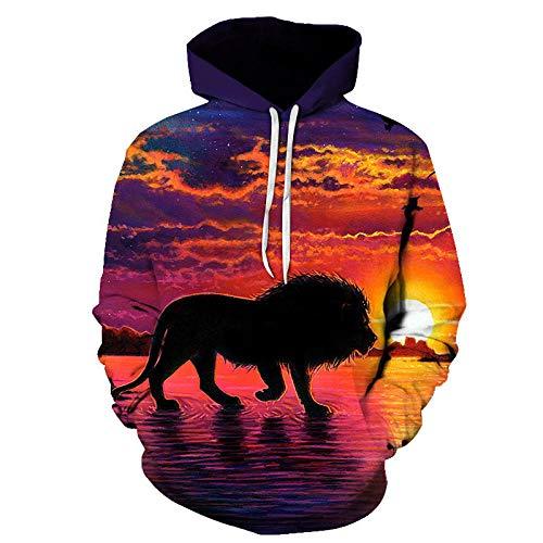 Novedad Flame Lion Hoodie Hombres S Animal Clothing Hoodie Sudadera Divertida Impresión 3D Ropa Deportiva Ropa Unisex Otoño Invierno Jacket-Picture_Color_XS