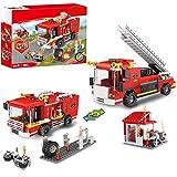 2 en 1 Camion de Pompiers Ville Blocs de Construction Caserne de Pompiers Construction de Pompier Jouets pour Enfants Âgés de 6 à 12 ans