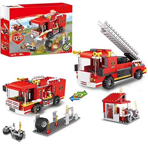 2 in 1 City Fire Station Fire Truck Building Blocks Fire...