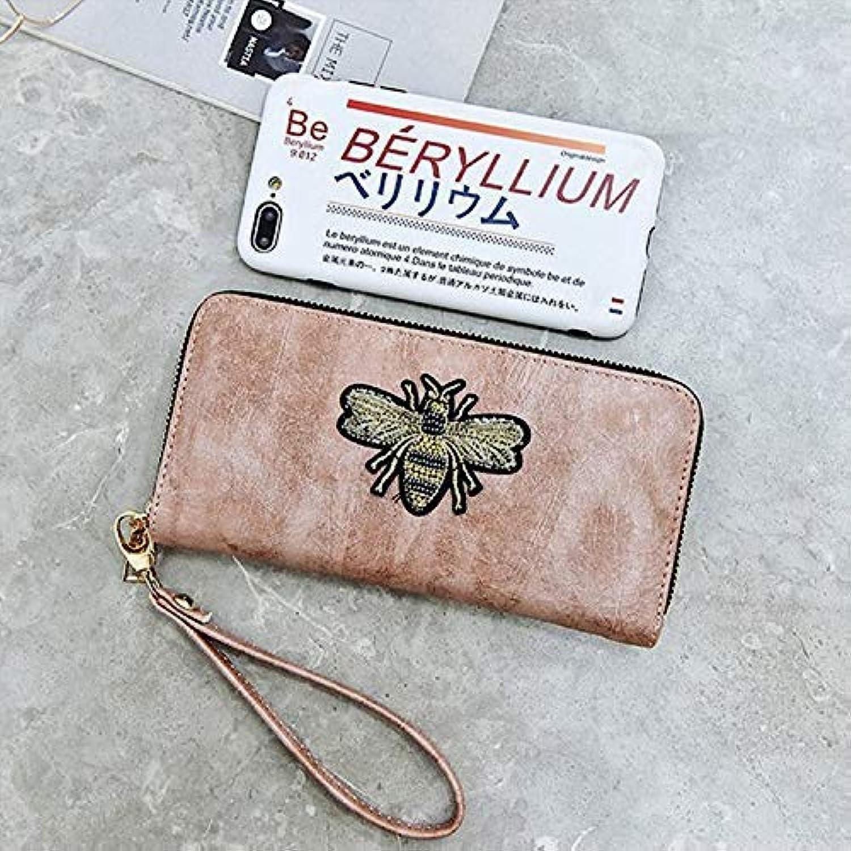 Women's Wallet Long Clutch Bag Little bee Single Pull Lady Long Wallet Phone Bag (color   bluee) Ladies Purses (color   Pink)