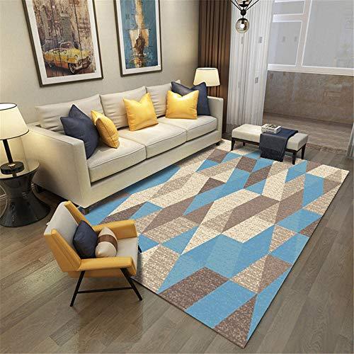 Kunsen Alfombras Diseño Moderno Alfombras Alfombra Lavable de diseño geométrico Crema Azul marrón para Sala de Estar Diseño Moderno Regional SaladeEstar Alfombras 200 * 300cm