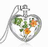 JIAMIN car Rearview Mirror Charm of Eternal Flower Heart-Shaped, K9 Crystal Double-Sided Transparent Color