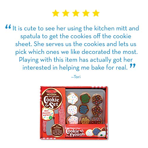 Melissa & Doug Slice-and-Bake Wooden Cookie Play Food Set (Pretend Play, High-Quality Materials, 30 Pieces, Great Gift for Girls and Boys - Best for 3, 4, and 5 Year Olds)