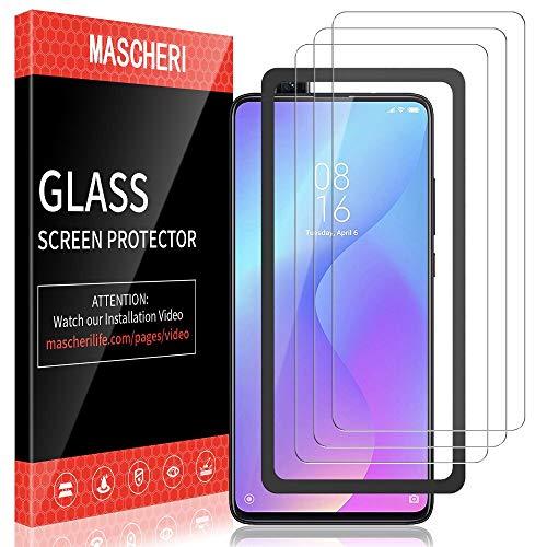 MASCHERI Schutzfolie für Xiaomi MI 9T / MI 9T Pro Panzerglas, [3 Pack] [Ausgestattet mit einem Einbaurahmen] Bildschirmschutzfolie Panzerfolie Bildschirmschutz Panzerglasfolie Glas Folie
