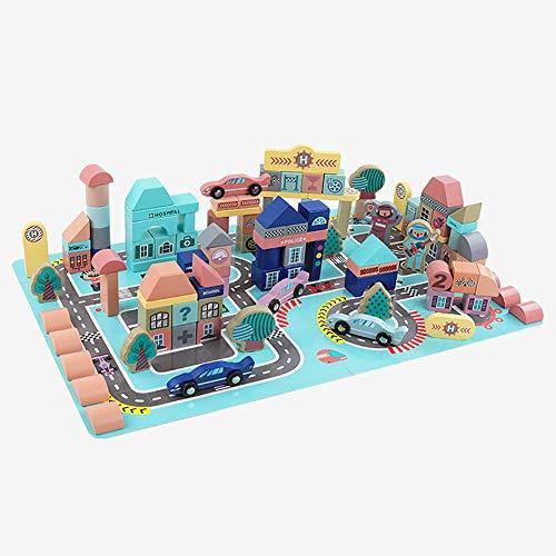 ROCK1ON Bausteine aus Holz,Urbane Architekturszene,Bunte Holzspielzeug für Kinder, Kleinkinder, Babys,Lernspielzeug,mit Aufbewahrungs Tasche Und Box(161Teile)