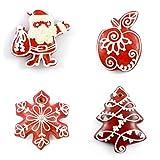 Handgemacht: Fest Keks Rotes Lebkuchen Anhänger Set für Tannenbaum im Geschenkkarton