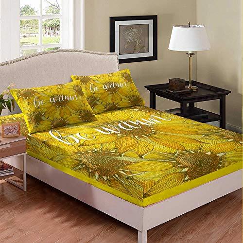 Set di lenzuola con angoli e tasche profonde, motivo girasoli, per ragazzi, ragazze, bambini, adolescenti, camera da letto, 3 pezzi (1 lenzuolo con angoli e 2 federe) per letto matrimoniale