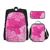 ZHOUWE Mochila con estampado floral, bolsa de lunc, estuche para lápices, juego de 3 bolsas escolares para niños, Negro, Talla única
