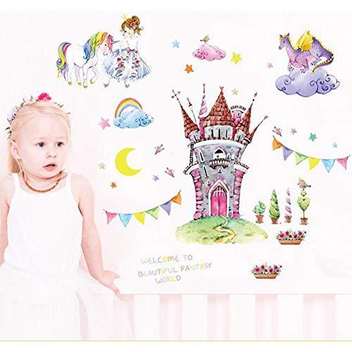 ZZDJ Etiqueta De La Pared para Habitaciones Infantiles Habitaciones para Niñas Decoración De Dormitorio Arte De La Pared De Animales Decoración De La Habitación De Los Niños Unicornio, A-23