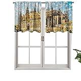 Hiiiman Cortina moderna para ventana con cenefa gótica, diseño de la catedral de Palma de Mallorca, juego de 2, 42 x 24 pulgadas