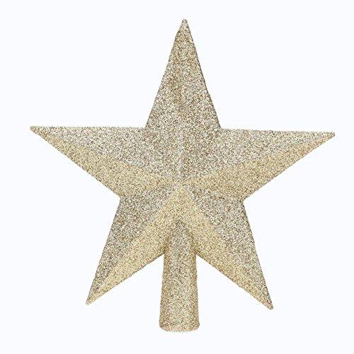 Domybest Cimier de Sapin de Noël Étoile Scintillante Sommet de Sapin Décoration d'arbre de Noël (Or, 20cm)