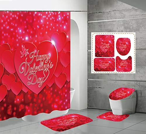 xingyundeshoop Cortina De Ducha-Decoración De Rosas De San Valentín Engrosada Impermeable Y A Prueba De Moho Baño Hotel Poliéster Tela-Baño De Cuatro Piezas 90 (Ancho) X180 (Alto) Cm