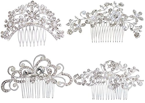 JACIYA Pack of 4 Bridal Wedding Hair Comb Overtone...