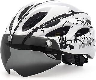FUNWICT Casco Bicicleta con Gafas Magnéticas Casco Bici de Montaña Ligera LED Casco Bicicleta de Carretera para Mujer Homb...
