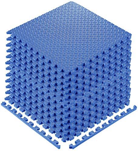 YOGU Puzzle Exercise Floor Mat EVA Interlocking Foam Tiles Exercise Equipment Mat Protective Flooring for Home Gym (Blue - 12 Tiles)