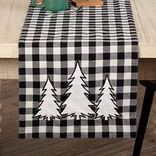 Piper Classics Vintage Check Black Applique Tree Table Runner, 54' Long, Modern Farmhouse Country Gingham Christmas Holiday Table Décor