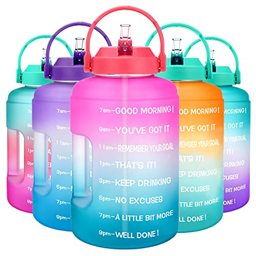 BuildLife Gallon Water Bottle with Straw & Motivational Time Marker BPA Free Water Jug Reusable Leakproof to Drink More Water Daily for Fitness Gym Outdoor Sports(Pink/Blue Gradient, 1 Gallon)