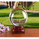 MerryNine リスタルボール 110mm 無色透明 水晶玉 木製台座台座付き 拭き取り布 フランネルバッグ 風水グッズ インテリア 置く物 撮影 個性 プレゼント