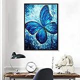 ganlanshu Pintura sin Marco Azul nórdico Insecto Natural Colorido Floral Mariposa Piedra Cartel Hermoso Arte de la Pared decoraciónZGQ3749 60X80cm