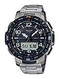 Casio Men's Pro Trek Bluetooth Connected Quartz Fitness Watch with Titanium Strap, Silver, 23 (Model: PRT-B50T-7CR)