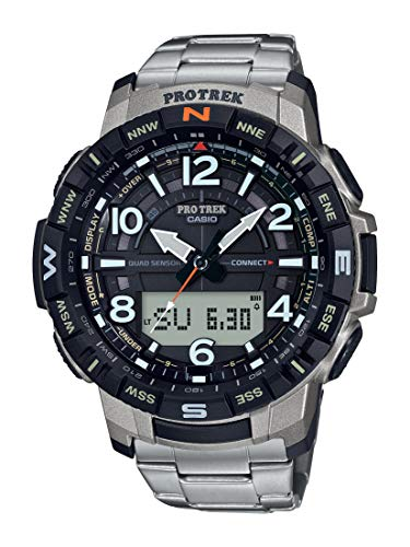 Casio Men's Pro Trek Bluetooth Connected Quartz Fitness Watch with Titanium Strap, Silver, 23 (Model: PRT-B50T-7CR)