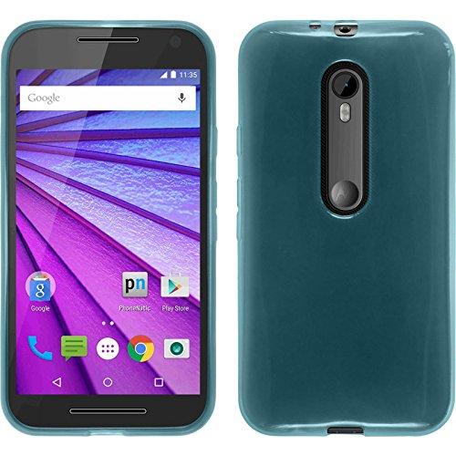 PhoneNatic Hülle für Motorola Moto G 2015 3. Generation Hülle Silikon türkis transparent Cover Moto G 2015 3. Generation Tasche + 2 Schutzfolien