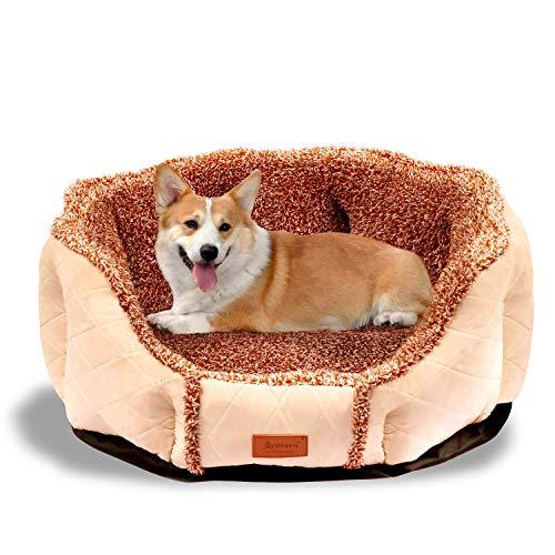 BIGLUFU Hond Huisdier Bed Kat Puppy Bedden met Afneembare Gezellige Mat, Pluche Matras, Ideaal voor Kleine, Medium, Grote Honden Katten Huisdieren Machine Wasbaar, Large, Eight Corner