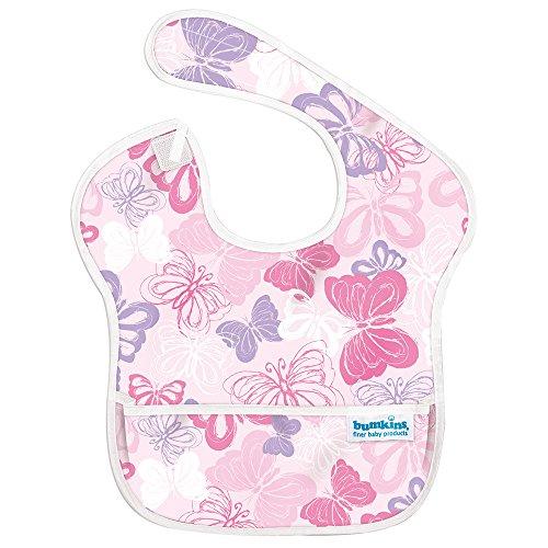 バンキンス 油が落ちるスタイ 日本正規品 スーパービブ 柔らかくて軽量 洗濯機で洗えてすぐ乾く お食事用防水ビブ 6~24ヶ月 Butterfly ピンク