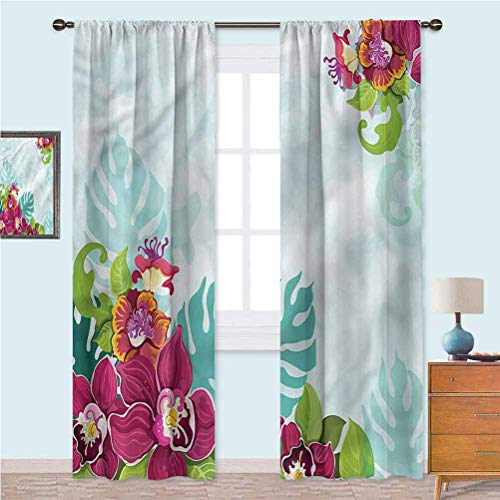 YUAZHOQI Floral Thermal Insulated Curtains Tropical Flourishing Garland Window Treatment Home Decor Curtains for Living Room 52' x 108'(2 Panels)