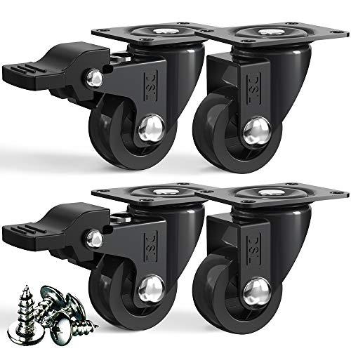 DSL – Kleine Lenkrollen 25 mm schwarz + Schrauben 60 kg   4 bewegliche Lenkrollen mit Bremse   Schwerlastrollen für Möbel – Trolleyräder mit TPR-Gummi   Schwerlastrollen für Möbel