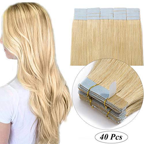 Extension Adesive Capelli Veri Biadesivo Tape Extensions Biadesive Bionde 40 Fasce/Set 100g 100% Remy Human Hair Naturali 2.5g/Ciocca (55cm, 24 Biondo Naturale)